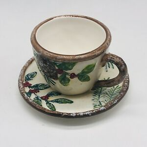 Yankee Candle Christmas Cup Saucer 2012 Holly Pine Votive Tea Light Holder