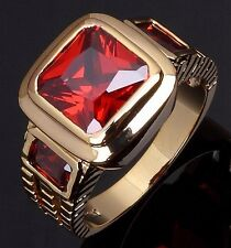 Fashion Size 9 Jewelry Bridal Garnet 18K Gold Filled Anniversary Rings For Men