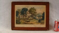 Antique 19C Currier & Ives A New England Home Color Lithograph