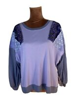 Free People Lilac Patchwork Paisley Boho  Long Sleeve Casual Top Blouse Size 6