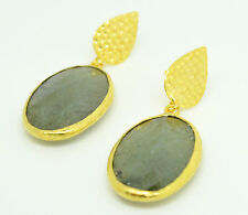 OttomanGems semi precious gem stone gold plated  earrings huge Labradorite