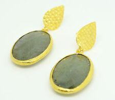 OttomanGems semi precious gem stone gold plated  earrings huge Labradorite