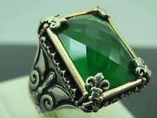 Turkish Handmade Jewelry 925 Sterling Silver Emerald Stone Men's Ring Sz 11