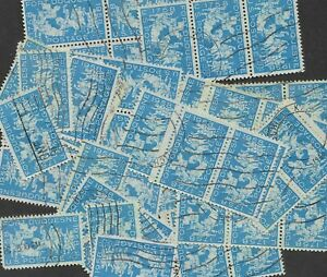 Postage Stamps For Crafting: 1958 4c Fort Dusquene; Blue; 50 Pieces