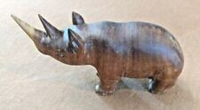 New listing Rhino African Rhinoceros Wooden Hand Carved Art Sculpture Initialed Very Nice
