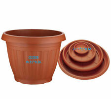 3/6 Pcs Large Plastic Terracotta Planter Flower Pot With Tray Indoor Outdoor