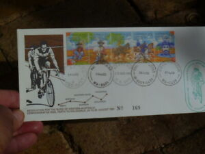 PERTH-KALGOORLIE BIKE ASSOCIATION OF THE BLIND 5 POSTMARKS CYCLE SPECIAL COVER