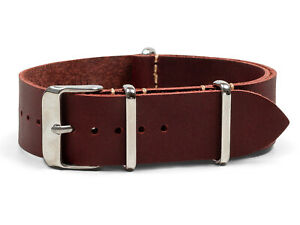 Oxblood Oiled Leather One-Piece Watch Band - 18, 20, 22 or 24mm