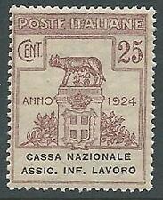 1924 REGNO PARASTATALI CASSA NAZIONALE LAVORO 25 CENT MNH ** - M39-6