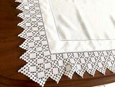 More details for vintage hand crochet  white linen table cloth 34x34 inches