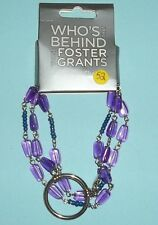 Foster Grant Women's Circle Holder Silver Chain Purple and Navy Beads 52