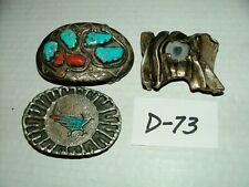 #Vintage Belt Buckles w Unique Designs Silver Turquoise Cast Metal Lot#D73