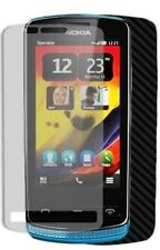 Skinomi Carbon Fiber Black Phone Skin+Screen Protector Film Cover for Nokia 700