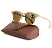 Ray Ban RB 3016M Clubmaster Wood Sunglasses 1179 Light Brown / B-15 Lens 51 mm