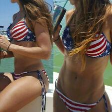 Fashion Women 4th July American Flag Swimwear Two Pieces Casual Bikini Beachwear