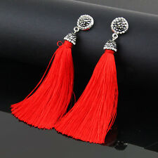 Fashion Charm Women Bohemia Crystal Silk Tassel Fringe Dangle Ear Stud Earrings