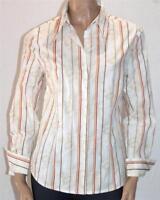 DAVIDA Brand White Floral Stripe Long Sleeve Shirt Size 14 BNWT [st70]