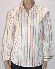 DAVIDA Designer White Floral Stripe Long Sleeve Shirt Size 14 BNWT [st70]