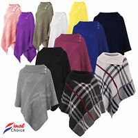 Ladies Womens Poncho Shawl Top Cardigan Winter Jacket Hoodie Scarves Cape Type •