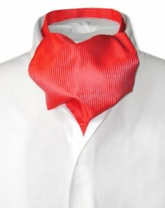 Antonio Ricci ASCOT Solid RED Ribbed Pattern Color Cravat Mens Neck Tie