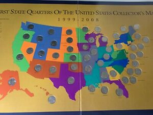 first state quarters of the united states collectors map value State Quarter Map In Us State Quarters (1999 2008) for sale | eBay