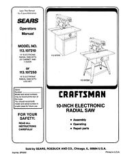 "Craftsman  113.197210 113.197250 10"" Radial Saw Manual Instructions"