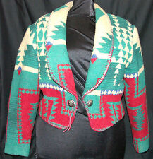 Circle T Bolero Geometric Western Tapestry Size M Green Red Lined Long Sleeve