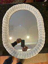 "Vintage Shabby Chic Oval white wicker Oval mirror, 24"" x 18"""