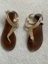 Aldo Cream Gold Brown Glitzy Flat Toepost Sandal. Size6/39. RP£50