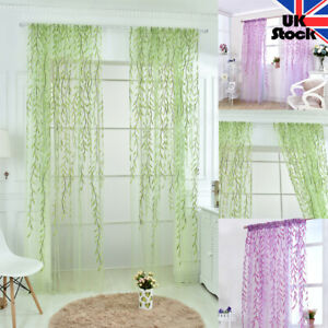 100cm*270cm Willow Leaves Printed Sheer Floral Tulle Window Curtain Voile Drape