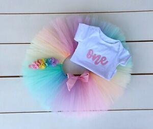 Pastel Rainbow Cake Smash Outfit - 3 Piece First Birthday Tutu Set Baby Girl
