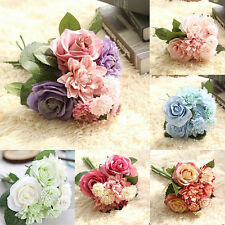 10 Head Artificial Fake Silk Rose Wedding Bridal Flower Bouquet Home Party New