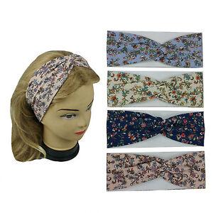 4 PCS New Flower Print Headband Women's Yoga Hair Wrap Twisted  Color Assorted