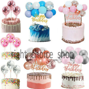 10PCS Confetti Balloon Cake Topper Arch Garland +Happy Birthday Bunting Party