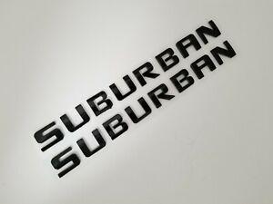 2PC BLACK SUBURBAN DOOR BADGE FIT Chevy EMBLEM Chevrolet NAME decal letters