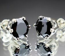 3.54tcw Real Natural Black Diamond Stud Earrings AAA Grade & $1970 Value