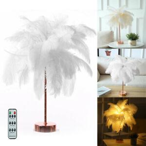Feder Lampe Tischlampe Leselampe Beleuchtung Nachttischlampe Tischlampe weiß