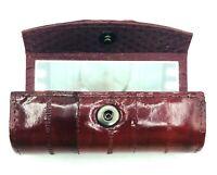 Vintage Lipstick Case Genuine Eel Skin Mirror Deep Red Made In Korea Purse Case