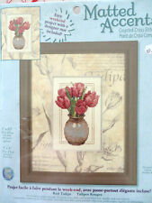 """MATTED ACCENTS Cross Stitch KIT with Printed Mat """"RED TULIPS"""""""