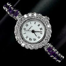 Sterling Silver 925 Genuine Natural Amethyst and Cubic Zirconia Watch 6.5 Inch