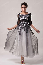Black New Long/Short Applique Masquerade Gown Party Cocktail Evening Prom Dress