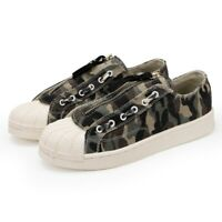 Mens Round Toe Zipper Tassel Flat Heel Low Top Canvas Camouflage Boards Shoes