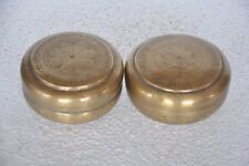 2 Pc Old Brass Engraved Round Shape  Engraved Jewellery Boxes , Rich Patina