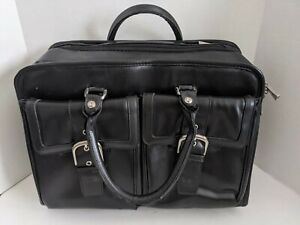 Franklin Covey Black Leather Work Briefcase Laptop Organizer - NICE CONDITION