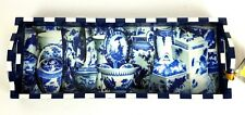New ANNIE MODICA Imari Blue & White Bar Tray Art Collectible Wood Decoupage