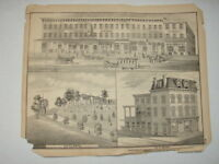Original 1873 Print Block of Stores, Pottsville, Pa - Schuylkill County, Pa