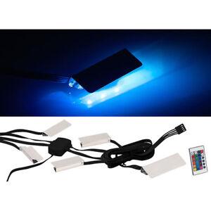 Lunartec LED-Glasbodenbeleuchtung mit Fernbedienung, 4 Klammern mit 12 RGB-LEDs