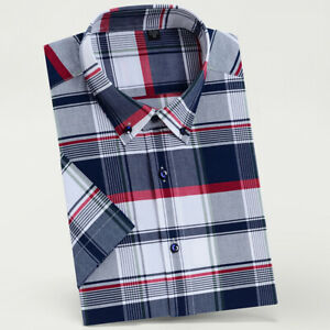 Mens Dress Shirts Short Sleeves Casual Slim Fit Camisas Plaids Cotton Shirts Top