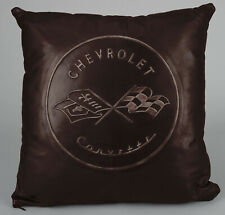 "Corvette C1 Embossed Leather Pillow 18"" x 18"" - BROWN 620261885"