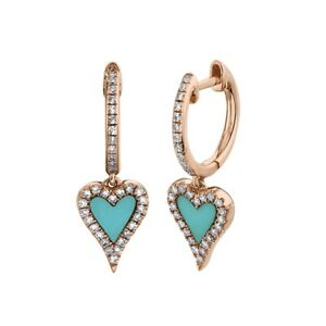 14K Rose Gold Heart Turquoise Diamond Drop Earrings 0.57TCW Love Dangle Womens